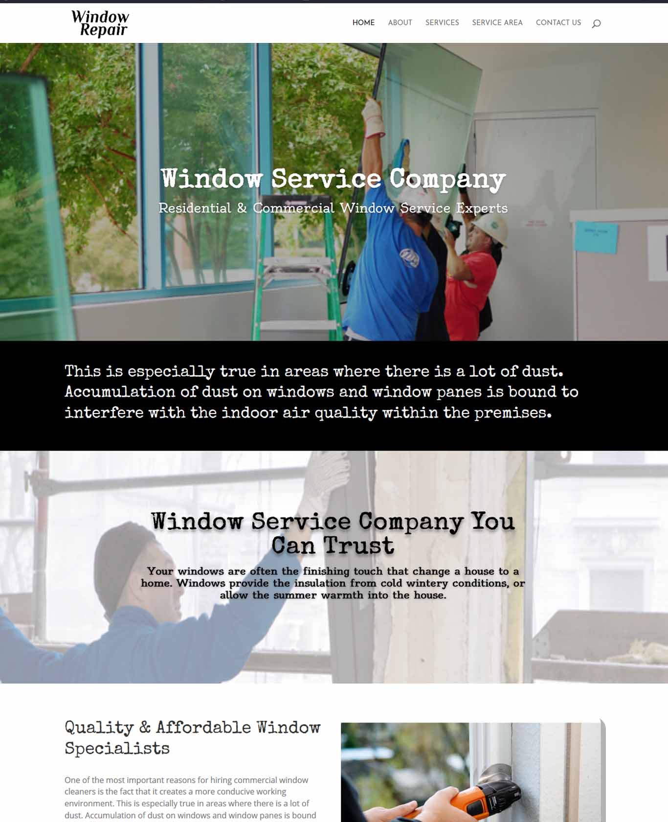 Window Service Company Website Sample