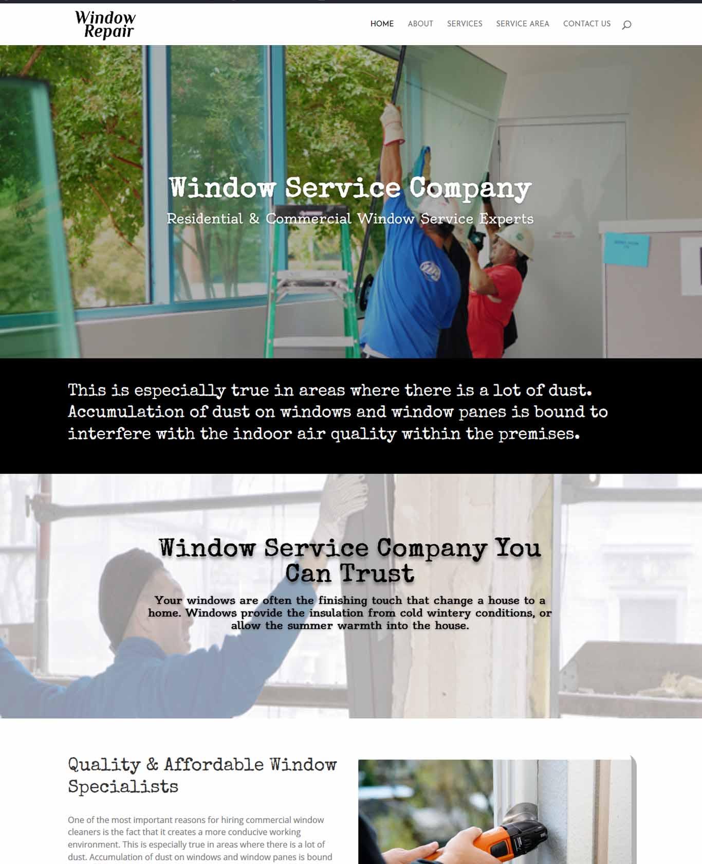 Window Service Company Website Sample
