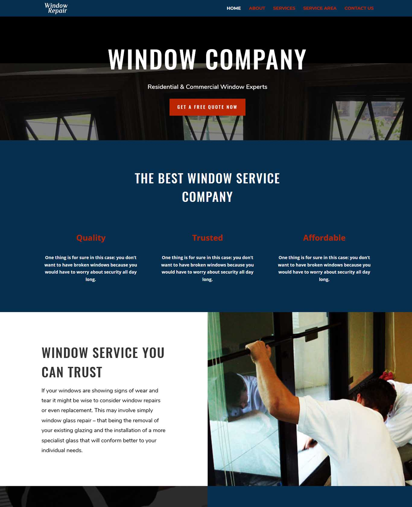 The Best Window Service Company Website
